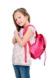 Giovane allievo con il sacchetto di banco. Fotografie Stock