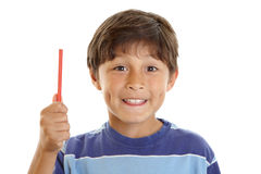 Giovane allievo del ragazzo con la matita Fotografia Stock