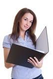 Giovane allievo femminile con il dispositivo di piegatura Immagini Stock