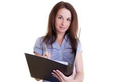 Giovane allievo femminile con il dispositivo di piegatura Fotografia Stock