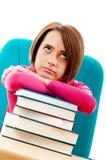 Giovane allievo femminile con molti libri Fotografie Stock