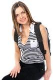 Giovane allievo femminile con uno zaino Fotografia Stock Libera da Diritti