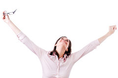 Giovane allungamento della donna di affari, isolato su bianco. Fotografie Stock Libere da Diritti