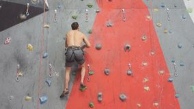 Giovane ambizioso libero che scala sulla parete artificiale, movimento lento stock footage