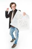 Giovane architetto con l'abbozzo Fotografia Stock Libera da Diritti