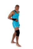 Giovane atleta dell'uomo dell'afroamericano, bendato fotografia stock