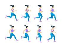Giovane atleta femminile della ragazza corrente in tuta sportiva Insieme di vettore dei telai di animazione Fotografia Stock