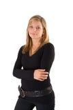 Giovane attrezzatura bionda del nero del ritratto della donna Fotografie Stock Libere da Diritti