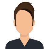 Giovane avatar maschio di profilo isolato su bianco Fotografia Stock