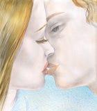 Giovane baciare delle coppie illustrazione vettoriale