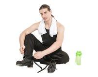 Giovane ballerino maschio bello dopo l'allenamento isolato Immagine Stock Libera da Diritti