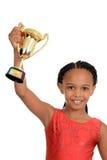 Giovane bambino nero con il trofeo di ginnastica Fotografia Stock