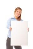 Giovane bandiera femminile felice dello spazio in bianco della holding immagini stock libere da diritti