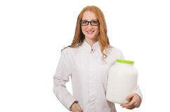 Giovane barattolo femminile della tenuta di medico di proteina Fotografia Stock Libera da Diritti