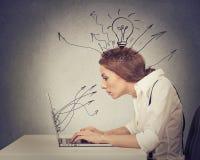 Giovane battitura a macchina di lavoro della donna di affari sul computer in ufficio Immagini Stock Libere da Diritti