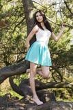Giovane bella donna alta con capelli scuri diritti lunghi che posano dentro Fotografia Stock Libera da Diritti