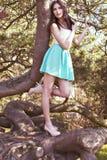 Giovane bella donna alta con la posa diritta lunga dei capelli scuri Immagini Stock