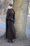 Giovane bella donna attraente nella condizione del vestito fotografie stock