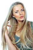 Giovane bella donna con capelli lunghi. Ritratto. Isolato sopra wh Fotografia Stock