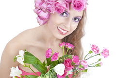 Giovane bella donna con i fiori Fotografia Stock