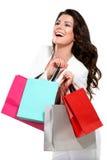 Giovane bella donna con la borsa di acquisto immagini stock