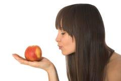 Giovane bella donna con la mela Immagini Stock Libere da Diritti