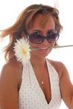 Giovane bella donna con un fiore Immagini Stock Libere da Diritti