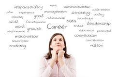 Giovane bella donna di affari che sogna il suo concetto di carriera. immagine stock