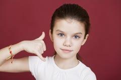 giovane bella donna di affari su una priorità bassa isolata Fotografie Stock
