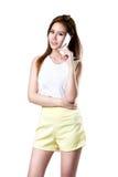giovane bella donna di affari su una priorità bassa isolata Fotografia Stock Libera da Diritti