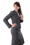 Giovane bella donna di affari in vestito Fotografie Stock