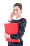 Giovane bella donna di affari in vestito nero con la cartella blu t Fotografia Stock