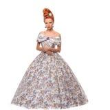 Giovane bella donna di lusso in vestito vittoriano d'annata immagini stock libere da diritti