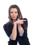 Giovane bella donna felice che indica su voi Fotografia Stock Libera da Diritti
