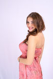 Giovane bella donna incinta con i grandi seni ed i capelli sani Fotografie Stock Libere da Diritti