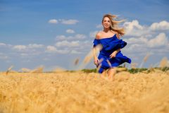 Giovane bella donna nel campo di frumento fotografie stock libere da diritti
