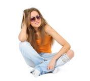Giovane bella donna su bianco Immagini Stock Libere da Diritti