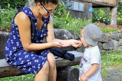 Giovane bella madre che alimenta la sua fragola di bosco del piccolo bambino all'aperto Fotografia Stock Libera da Diritti