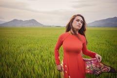 Giovane bella posa castana vietnamita in un vestito rosso Immagine Stock