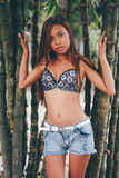 Giovane bella ragazza che posa con gli alberi di bamoo, concetto caldo di modo di estate immagini stock libere da diritti