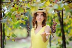 Giovane bella ragazza che seleziona uva piena nel giorno soleggiato in Italia Fotografie Stock Libere da Diritti