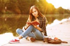 Giovane bella ragazza che si siede sul pilastro Fotografia Stock