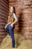 Giovane bella ragazza esile nel hayloft fotografie stock