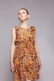 Giovane bella ragazza in vestito dal leopardo immagine stock
