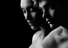 Giovane bella siluetta delle coppie in nero & nel bianco Immagini Stock Libere da Diritti