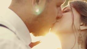 Giovane bello bacio della sposa e dello sposo delle coppie in stock footage