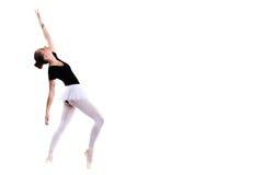 Giovane bello ballerino di balletto isolato sopra fondo bianco Fotografia Stock
