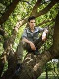 Giovane bello che si siede sui rami di albero Fotografie Stock Libere da Diritti