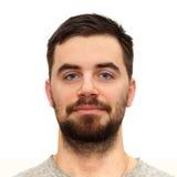 Giovane bello con la barba ed i baffi Fotografie Stock