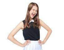 Giovane bello sbattere le palpebre della ragazza dell'adolescente isolato Fotografia Stock